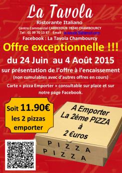 promos juin emporter 2eme pizza 2€